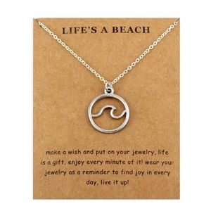 Jewelry - Ocean Waves Beach Silver Nautical Necklace